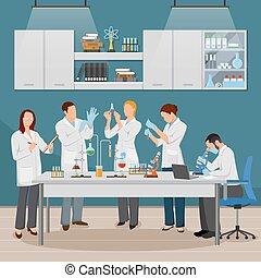 vetenskap, och, laboratorium, illustration