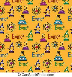 vetenskap, pattern., seamless