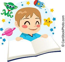 vetenskap, pojke läsa, bok, fiktion