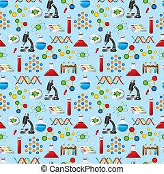 vetenskap, seamless, mönster
