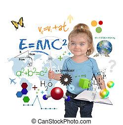 vetenskap, ung, skrift, geni, flicka, matematik