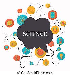 vetenskap, vektor, bakgrund
