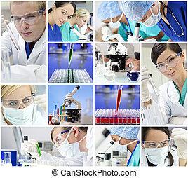 vetenskaplig forskning, lag, män, &, kvinnor, in, a, laboratorium