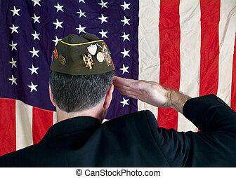 veteran - A Veteran wearing a decorated cap, saluting the...