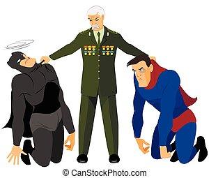 veteran, hält, zwei, superhelden