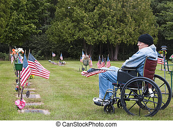 veteran in a wheelchair at the cemetary - disabled veteran...
