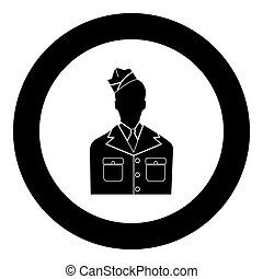 Veteran or soldier of the american army black icon in circle vector illustration