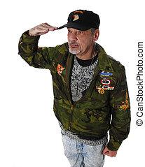 Veteran Salutes - Vietnam veteran saluting