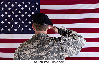 Veteran solider saluting the flag of USA flag