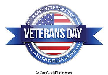 veteranen, day., ons, zeehondje, en, spandoek