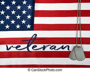 veterano, etiquetas, bandeira, cão