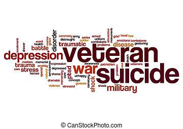 veterano, suicidio, palabra, nube