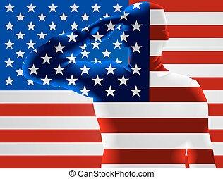 veteranos día, bandera estadounidense, soldado, saludar