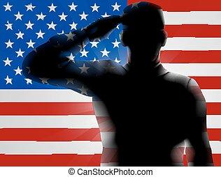 veteranos día, silueta, soldado, saludar