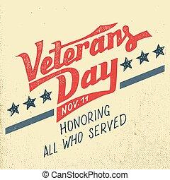 veteranos, feriado, diseño, día, tipográfico