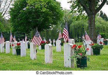 veteranos, tumbas, banderas