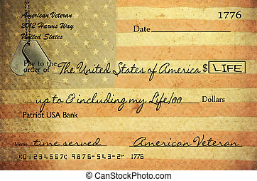 veteran's check with texture