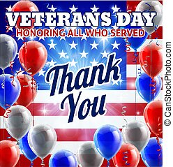 Veterans Day American Flag And Balloons Design