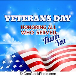 Veterans Day American Flag Background Sky