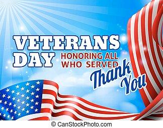 Veterans Day American Flag Sky Design Background