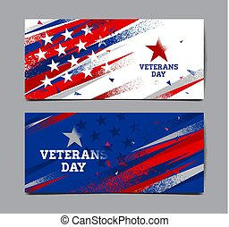 Veterans day background, USA flag , Vector abstract grunge, Template Banner.