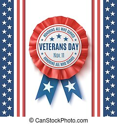 Veterans Day badge on abstract background.