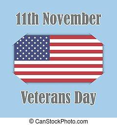 Veterans day banner on American flag