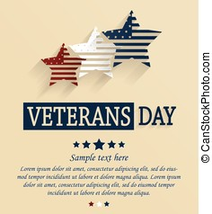 Veterans Day card. Red, white and blue stars. Vector...