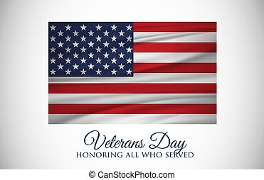 Veterans Day celebration illustration. US flag on HD background banner. Remember and honor.