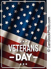 Veterans Day Celebration National American Holiday Banner Over Usa Flag Background