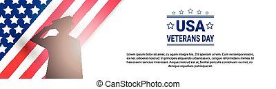 Veterans Day Celebration National American Holiday Banner With Soldier Silhouette Over Usa Flag Background
