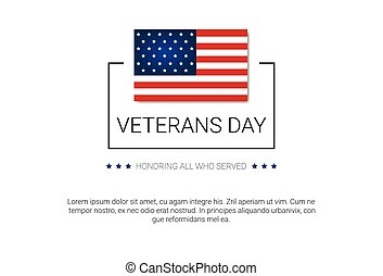 Veterans Day Celebration National American Holiday Banner With Usa Flag