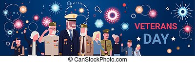 Veterans Day Celebration National American Holiday Banner With Group Of Retired Military People