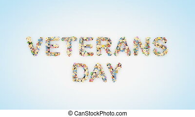 Veterans Day floral text background animation