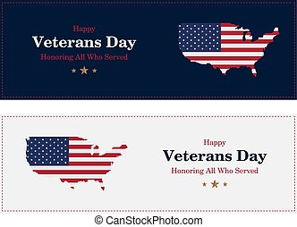 Veterans Day. Greeting card with USA flag on background. National American holiday event. Flat vector illustration EPS10