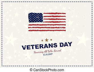 Veterans Day. Greeting card with USA flag on background with texture. National American holiday event. Flat vector illustration EPS10
