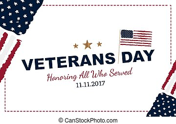 Veterans Day. Greeting card with USA flag on white background. National American holiday event. Flat vector illustration EPS10