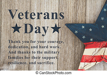 Veterans Day message with retro USA star