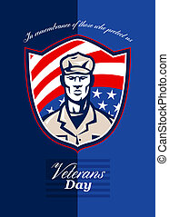 Veterans Day Modern Soldier Greeting Card Retro - Greeting...