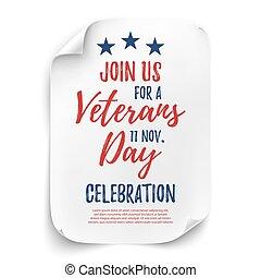 Veterans Day party poster. - Veterans Day party celebration...