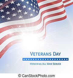 Veterans Day, Remember and Honor - poster with the flag of...