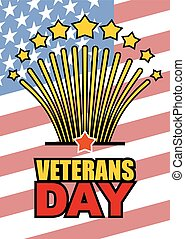 Veterans Day. Salute honoring American heroes on  background of USA  flag. Vector illustration of patriotic national holiday United States