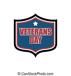 Veterans Day shield emblem. US military holidayl logo