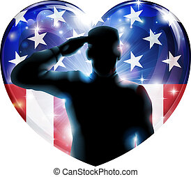 Veterans day soldier or 4th July concept - Illustration of a...