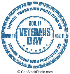 Veterans Day-stamp - Grunge rubber stamp with text Veterans...