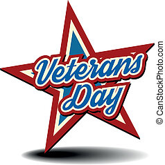detailed illustration of a patriotic star with Veterans Day text, eps 10 vector