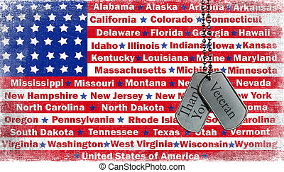 Tribute to veterans on dog tags.