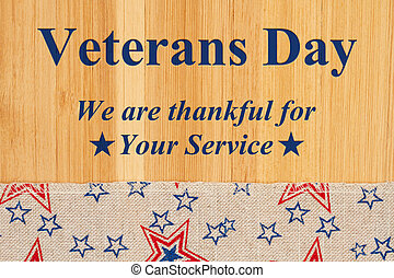 Veterans day type message with retro USA stars and stripes ribbon