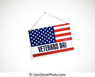 veterans day us hanging flag illustration