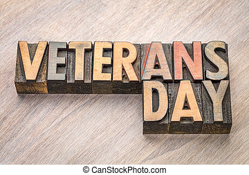 Veterans Day - word abstract in wood type